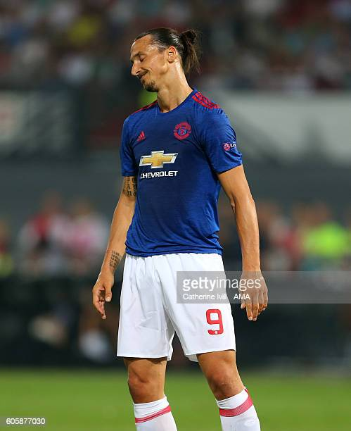 A dejected looking Zlatan Ibrahimovic of Manchester United during the UEFA Europa League match between Feyenoord and Manchester United at Feijenoord...