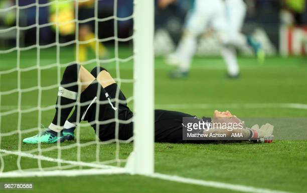 A dejected Loris Karius of Liverpool after Gareth Bale of Real Madrid scored a goal to make it 31 during the UEFA Champions League final between Real...