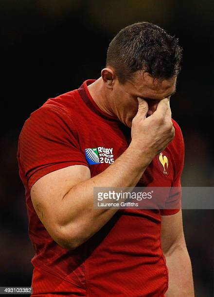 Dejected Louis Picamoles of France during the 2015 Rugby World Cup Quarter Final match between New Zealand and France at the Millennium Stadium on...
