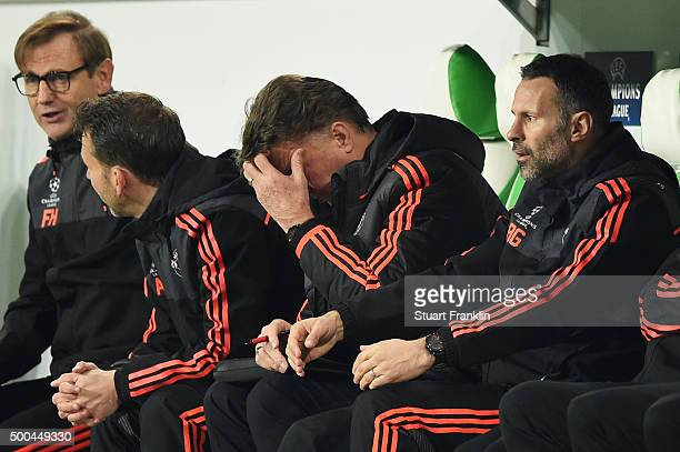 A dejected Louis van Gaal the manager of Manchester United reacts during the UEFA Champions League group B match between VfL Wolfsburg and Manchester...