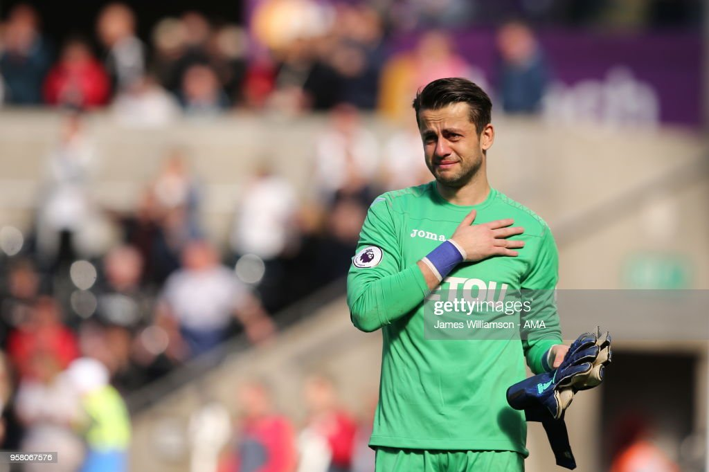 A dejected Lukasz Fabianski of Swansea City at full time of the Premier League match between Swansea City and Stoke City at Liberty Stadium on May 13, 2018 in Swansea, Wales.