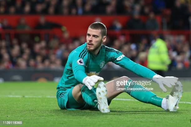 Dejected Man Utd goalkeeper David De Gea during the Premier League match between Manchester United and Manchester City at Old Trafford on April 24,...
