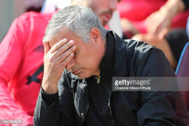 A dejected Man Utd manager Jose Mourinho during the Premier League match between West Ham United and Manchester United at London Stadium on September...