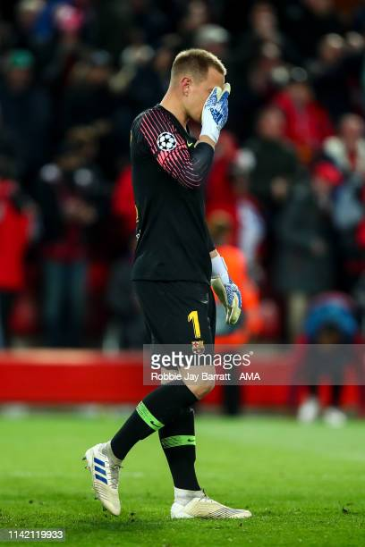 A dejected MarcAndre ter Stegen of FC Barcelona reacts during the UEFA Champions League Semi Final second leg match between Liverpool and Barcelona...