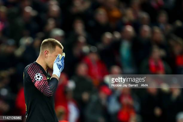 Dejected Marc-Andre ter Stegen of FC Barcelona reacts during the UEFA Champions League Semi Final second leg match between Liverpool and Barcelona at...