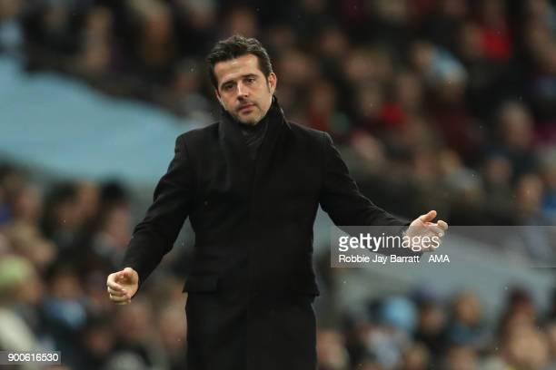 A dejected Marco Silva manager / head coach of Watford reacts during the Premier League match between Manchester City and Watford at Etihad Stadium...