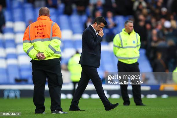 Dejected Marco Silva the head coach / manager of Everton at full time during the Premier League match between Everton FC and West Ham United at...