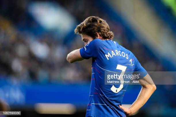A dejected Marcos Alonso of Chelsea during the Premier League match between Chelsea FC and Manchester United at Stamford Bridge on October 20 2018 in...