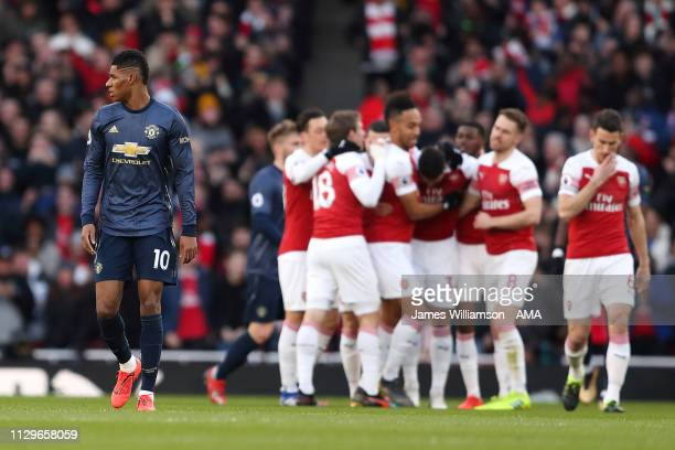 A dejected Marcus Rashford of Manchester United after Granit Xhaka of Arsenal scored a goal to make it 10 during the Premier League match between...
