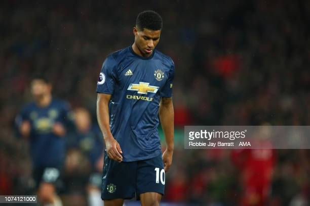 A dejected Marcus Rashford of Manchester United after Liverpool scored to make it 31 during the Premier League match between Liverpool FC and...