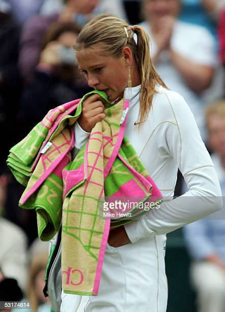 A dejected Maria Sharapova of Russia against Venus Williams of USA during the tenth day of the Wimbledon Lawn Tennis Championship on June 30 2005 at...