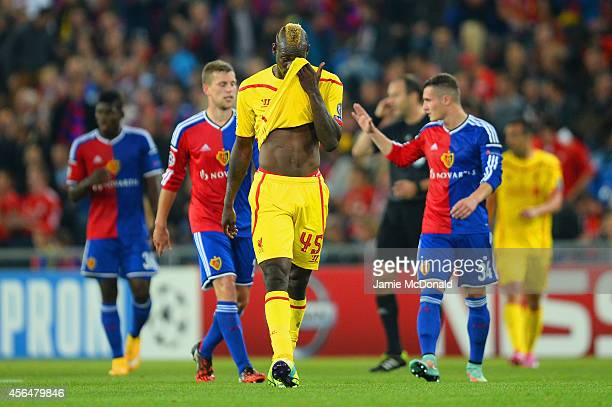 A dejected Mario Balotelli of Liverpool at the end of the match during the UEFA Champions League Group B match between FC Basel 1893 and Liverpool FC...