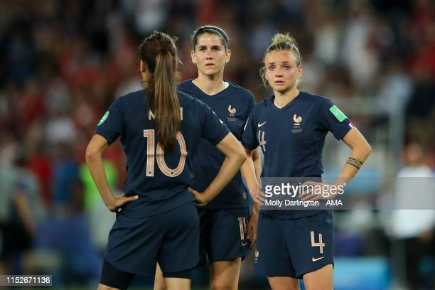 A dejected Marion Torrent of France reacts at full time during the 2019 FIFA Women's World Cup France Quarter Final match between France and USA at...