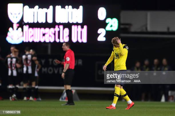 Dejected Mark Sykes of Oxford United after Joelinton of Newcastle United scored a goal to make it 0-2 during the FA Cup Fourth Round Replay match...