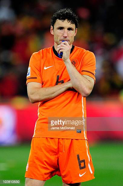 Dejected Mark Van Bommel of the Netherlands after defeat during the 2010 FIFA World Cup South Africa Final match between Netherlands and Spain at...
