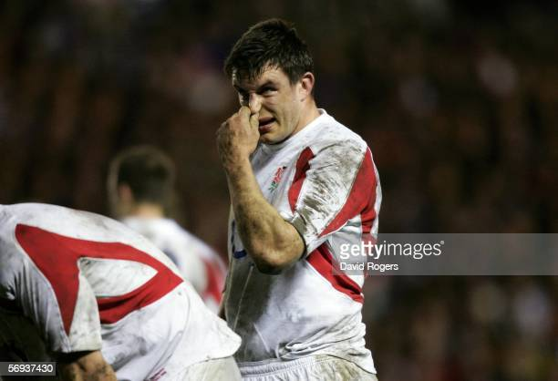 Dejected Martin Corry looks on during the RBS Six Nations Championship match between Scotland and England at Murrayfield on February 25, 2006 in...