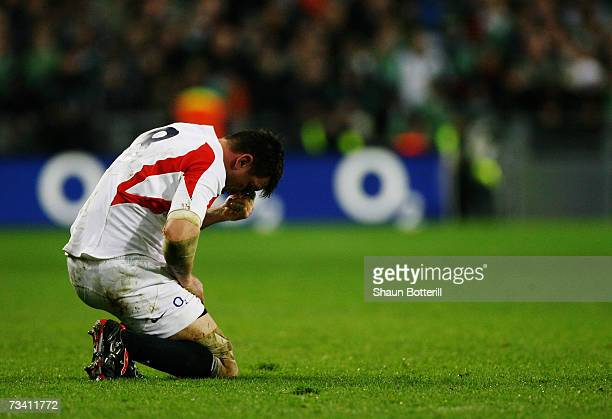 Dejected Martin Corry of England reacts as his team head for defeat during the RBS Six Nations Championship match between Ireland and England at...
