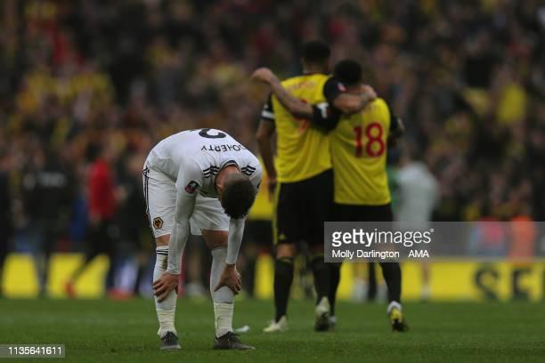 A dejected Matt Doherty of Wolverhampton Wanderers during the FA Cup Semi Final match between Watford and Wolverhampton Wanderers at Wembley Stadium...
