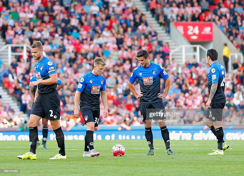 Dejected Matt Ritchie and Andrew Surman of Bournemouth during the Barclays Premier League match between Stoke City and A.F.C. Bournemouth at Britannia Stadium on September 26, 2015 in Stoke on Trent, United Kingdom.