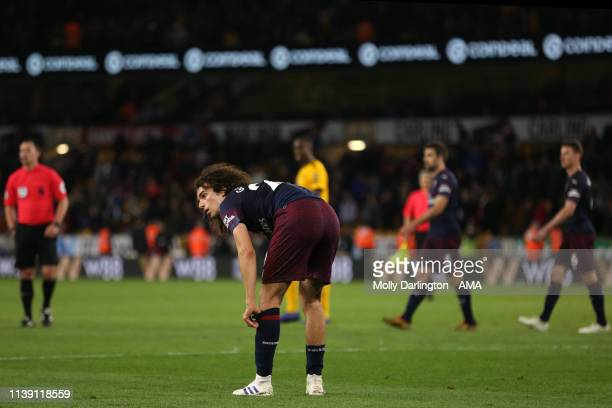 Dejected Matteo Guendouzi of Arsenal during the Premier League match between Wolverhampton Wanderers and Arsenal FC at Molineux on April 24, 2019 in...