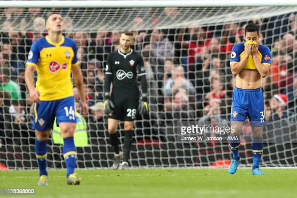 Dejected Maya Yoshida of Southampton after Romelu Lukaku of Manchester United scores a goal to make it 3-2 during the Premier League match between...