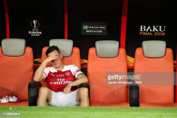 A dejected Mesut Ozil of Arsenal after losing the UEFA Europa League Final between Chelsea and Arsenal at Baku Olimpiya Stadionu on May 29 2019 in...