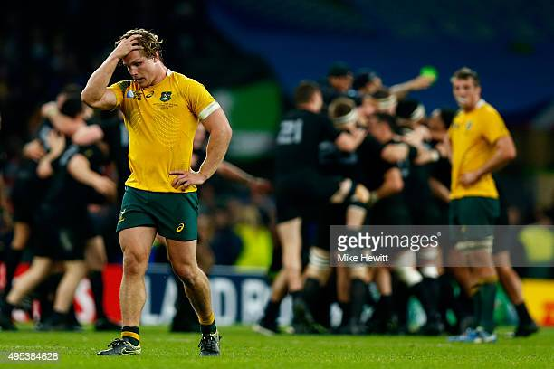A dejected Michael Hooper of Australia reacts as the final whistle blows during the 2015 Rugby World Cup Final match between New Zealand and...