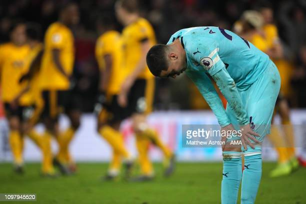 A dejected Miguel Almiron of Newcastle United during the Premier League match between Wolverhampton Wanderers and Newcastle United at Molineux on...