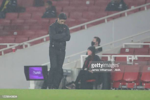 A dejected Mikel Arteta the manager / head coach of Arsenal during the Premier League match between Arsenal and Aston Villa at Emirates Stadium on...
