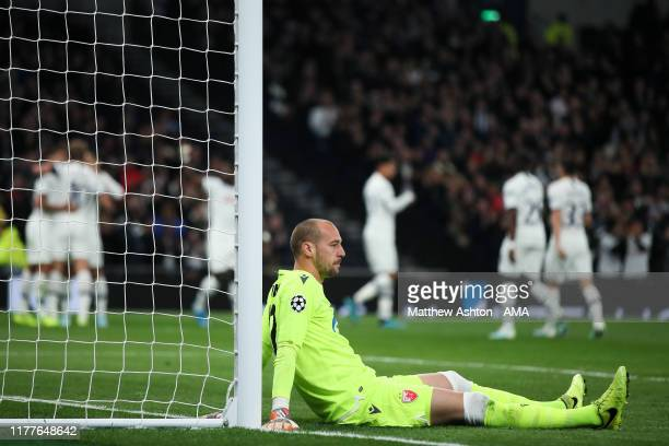 Dejected Milan Borjan of Crvena Zvezda after Son Heung-min of Tottenham Hotspur scored a goal to make it 2-0 during the UEFA Champions League group B...