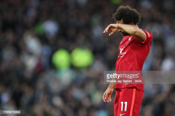 Dejected Mohamed Salah of Liverpool after the Premier League match between Liverpool and Manchester City at Anfield on October 3, 2021 in Liverpool,...
