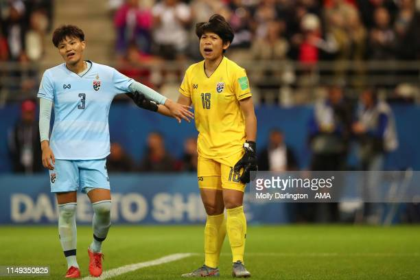 A dejected Natthakarn Chinwong of Thailand and Sukanya Chor Charoenying of Thailand during the 2019 FIFA Women's World Cup France group F match...