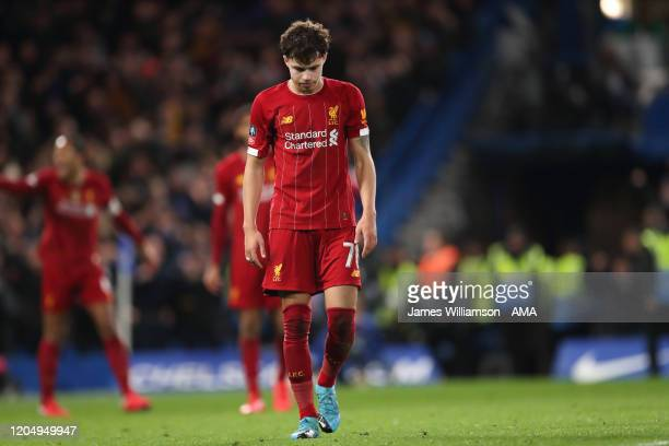 Dejected Neco Williams of Liverpool after Ross Barkley of Chelsea scored a goal to make it 2-0 during the FA Cup Fifth Round match between Chelsea FC...