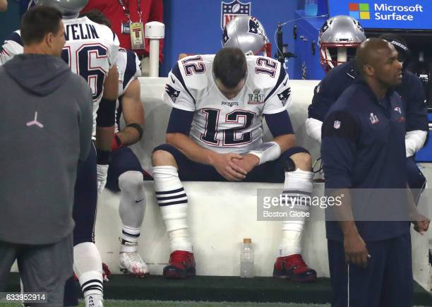 A dejected New England Patriots quarterback Tom Brady sits on the bench during the third quarter at NRG Stadium in the Super Bowl The Atlanta Falcons...