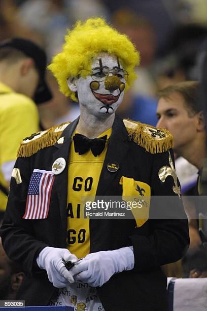 A dejected New Orleans Saint's fan looks on during the game against the New York Jets on November 4 2001 at the Superdome in New Orleans Louisiana...