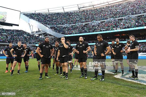 Dejected New Zealand players look on following their team's 40-29 defeat during the international match between Ireland and New Zealand at Soldier...