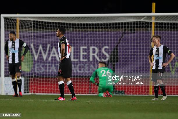 Dejected Newcastle players after Nathan Holland of Oxford United scored a goal to make it 2-2 during the FA Cup Fourth Round Replay match between...