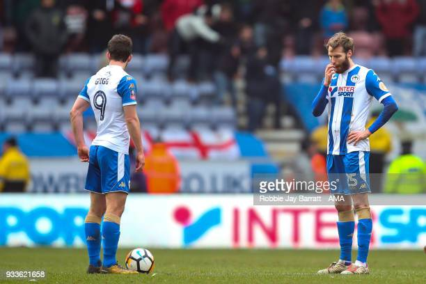 A dejected Nick Powell of Wigan Athletic after conceding the second goal during The Emirates FA Cup Quarter Final match at DW Stadium on March 18...