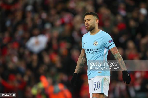A dejected Nicolas Otamendi of Manchester City during the UEFA Champions League Quarter Final Leg One match between Liverpool and Manchester City at...