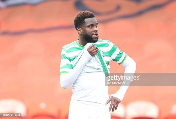 Dejected Odsonne Edouard of Celtic is seen at full time during the Ladbrokes Premiership match between Dundee United and Celtic at Tannadice Park on...