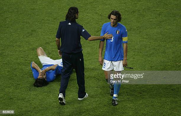 A dejected Paolo Maldini of Italy after the FIFA World Cup Finals 2002 Second Round match between South Korea and Italy played at the Daejeon World...