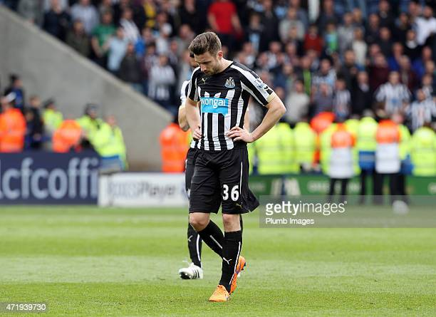 A dejected Paul Dummett of Newcastle makes his way to the changing rooms after losing 03 after the Premier League game between Leicester City and...