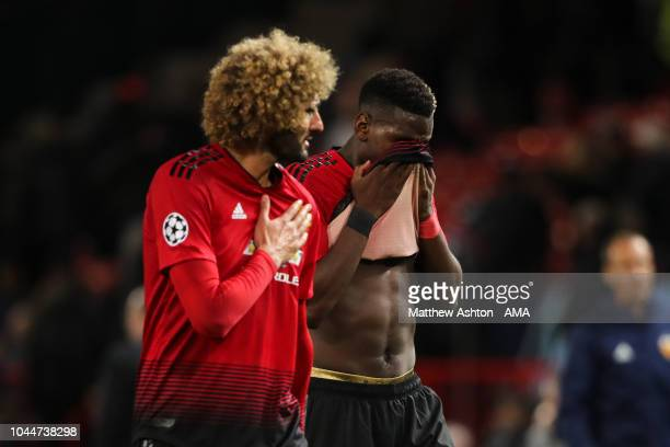 A dejected Paul Pogba of Manchester United walks off the pitch at full time during the Group H match of the UEFA Champions League between Manchester...