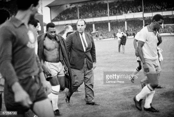 A dejected Pele leaves the field after the Group C match between Brazil and Portugal at Goodison Park during the 1966 World Cup in England 19th July...