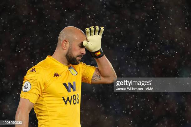 A dejected Pepe Reina of Aston Villa during the Premier League match between Leicester City and Aston Villa at The King Power Stadium on March 9 2020...