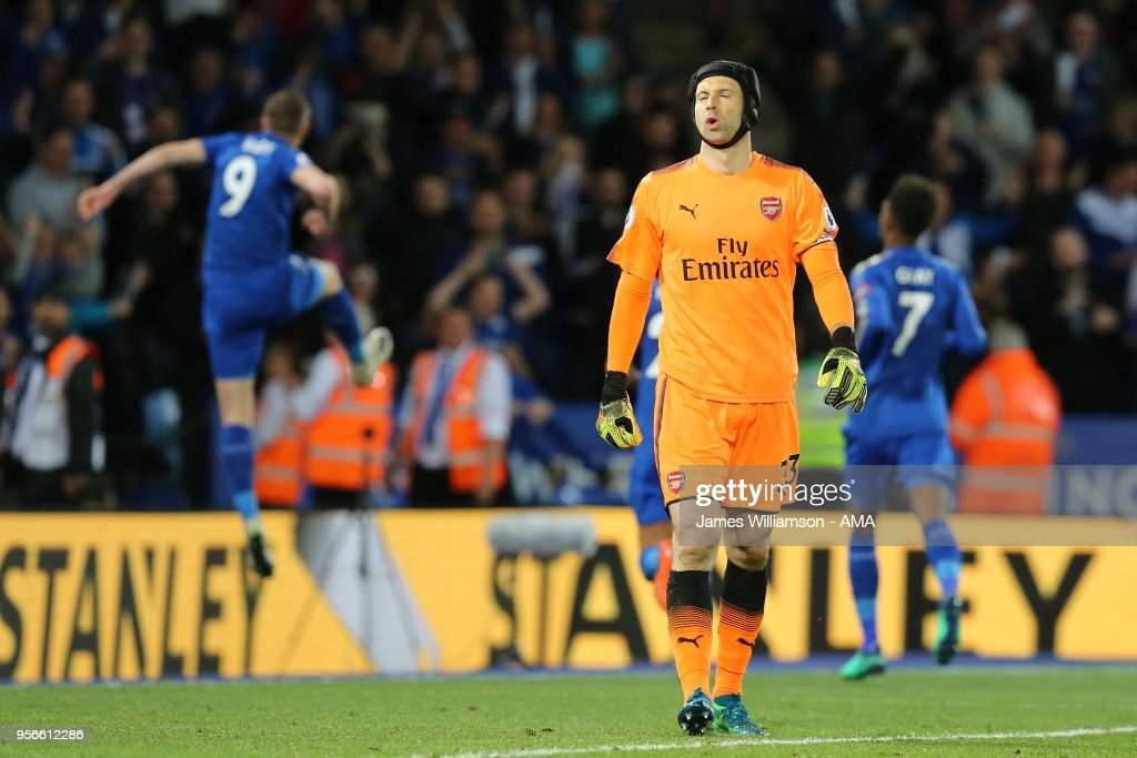 A dejected Petr Cech of Arsenal after Jamie Vardy of Leicester City scores a goal to make it 2-1 during the Premier League match between Leicester City and Arsenal at The King Power Stadium on May 9, 2018 in Leicester, England.