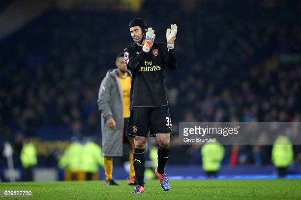 A dejected Petr Cech of Arsenal applauds the travelling fans following his team's 21 defeat during the Premier League match between Everton and...