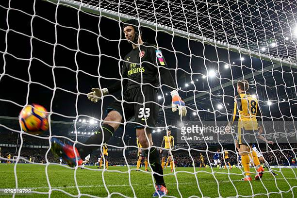 A dejected Petr Cech of Arsenal reacts after Seamus Coleman of Everton scores a goal to level the scores at 11 during the Premier League match...
