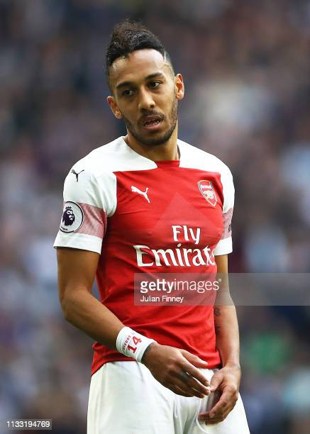 A dejected PierreEmerick Aubameyang of Arsenal after having his penalty saved during the Premier League match between Tottenham Hotspur and Arsenal...