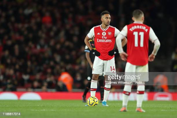 A dejected PierreEmerick Aubameyang of Arsenal after Kevin De Bruyne of Manchester City scores a goal to make it 03 during the Premier League match...